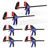 WORKPRO Bar Clamps for Woodworking, 6-Pack One-Handed Clamp/Spreader, 6-Inch (4)...