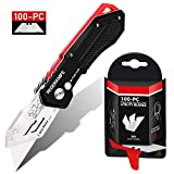 Folding Utility Knife with SK5 Blades 100Pack, RegerKnife Heavy Duty Box Cutters...